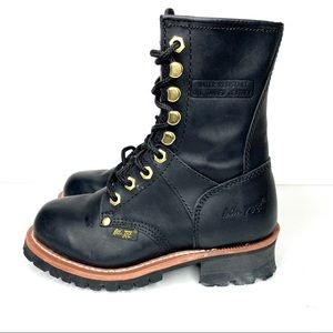 "AD TEC WOMEN'S 9"" BLACK LEATHER LOGGER BOOTS NEW"